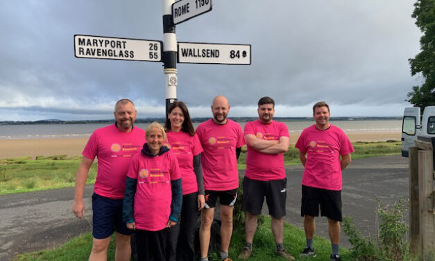 Teachers hike Hadrian's Wall in show of support for students battling brain tumours