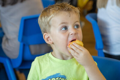 Two-year-old Zachary, whose big sisters attend Longfield, was on-hand to sample the cakes