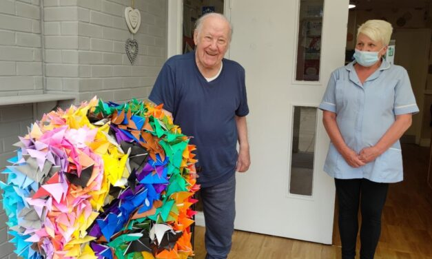 Thousand origami butterfly sculpture for Tyneside care home